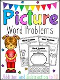 Picture Word Problems Printable Worksheets - Addition & Subtraction Kindergarten