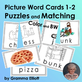 Word Cards with Pictures for Puzzles and Matching for Grades 1-2