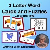3 Letter Vocabulary Word Cards for Puzzles in Color and BW