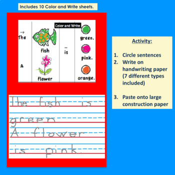 Handwriting: Picture Word Sentences for Special Needs Writing Practice