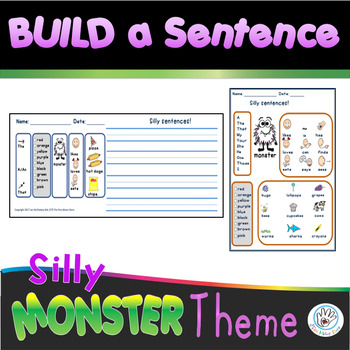 Picture Word Sentences for K - 1st or Special Education - MONSTER THEMED!