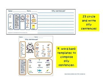 BUILD a Sentence  - MONSTER THEMED!