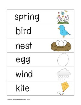 Picture Word Strips {March Words}
