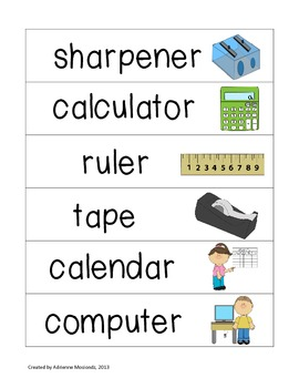 Picture Word Strips {School Words}