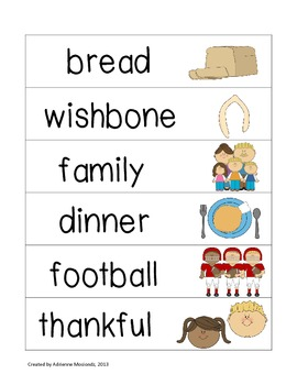 Picture Word Strips {Thanksgiving Words}