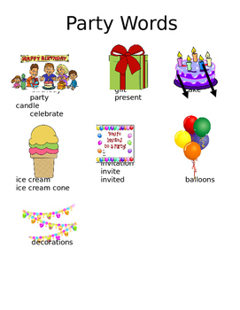 Picture Word Wall- Party Words