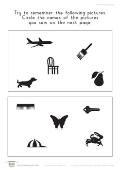 Picture Words Memory (Visual Memory Worksheets)