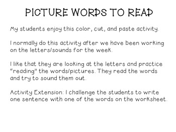 Picture Words to Read (Tt and Pp)