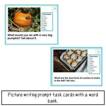 Picture Writing Prompt Task Cards: Fall
