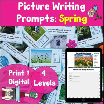 Writing Prompt Picture Task Cards Spring Print and Digital