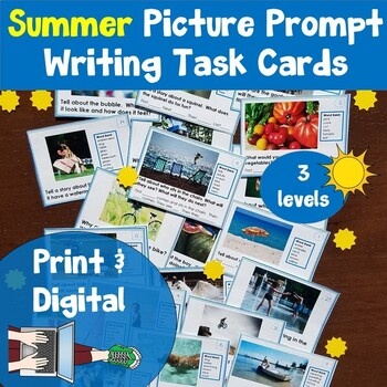 Picture Writing Prompt  Task Cards: Summer