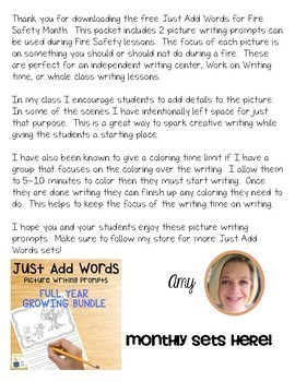 Free Picture Writing Prompts for Fire Safety Month | Writing Center|