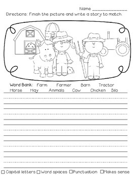Picture Writing Prompts with Handwriting Lines