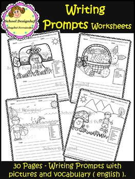Picture Writing Prompts with Vocabulary - English (School Designhcf)