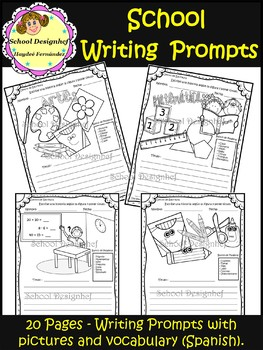Picture Writing Prompts with Vocabulary - School (School Designhcf)