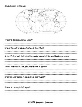 Picture a Country: Japan Guided Reading Comprehension Questions
