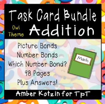 Picture & Number Bond Addition Task Card BUNDLE Owl Style