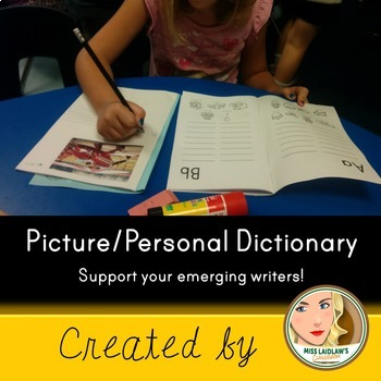 Picture and Personal Dictionary for Primary Students (with blank lines) BOOKLET
