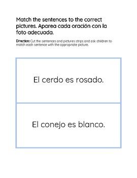Picture and Sentence Match/Aparea cada oración con la foto adecuada.