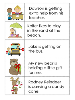 Picture and Sentence Match Up Cards:  Set 3--25 Pairs for 2 Activities