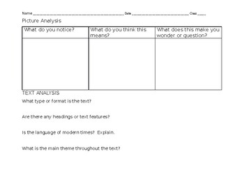 Picture and Text Analysis Page