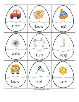 Picture and Word CVC Egg Puzzles