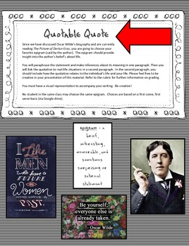 O. Wilde's The Picture of Dorian Gray (Epigram Activity)