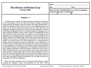The Picture of Dorian Gray -Oscar Wilde:Digital Book Bundle-Annotation Organizer