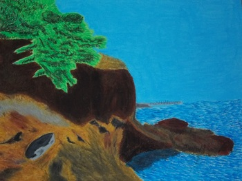Picture of rocks and ocean painting