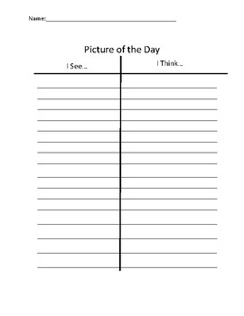 Picture of the Day Answer Sheets
