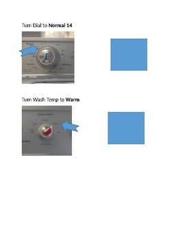 Picture schedule for using a washing machine