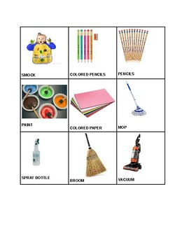 Picture sort: Is it art supplies or cleaning supplies?