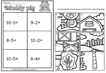 Picture sort for addition and subtraction- muddy pig(50% off)