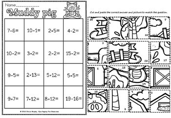 Picture sort for addition and subtraction- muddy pig