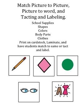 Picture to Picture, Picture to word, Tacting/Labeling/Auti