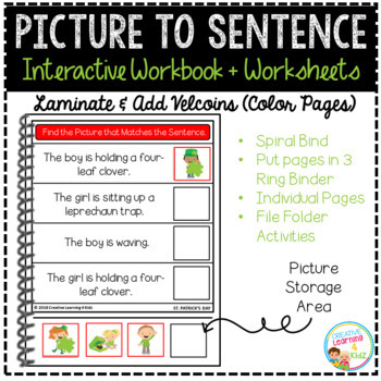 Picture to Sentence Interactive Workbook + Worksheets: St. Patrick's Day