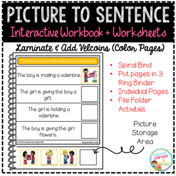Picture to Sentence Interactive Workbook + Worksheets: Valentine's Day