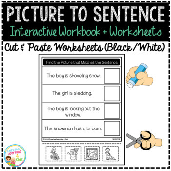 Picture to Sentence Interactive Workbook + Worksheets: Winter