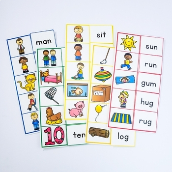 Word Reading Practice Picture to Word Matching Mats Short Vowels Phonics