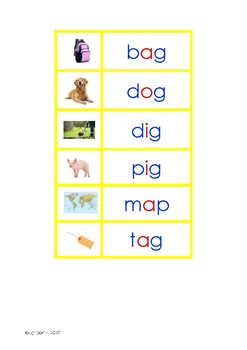 Montessori Picture to Word Matching (Print & Cursive) - YELLOW