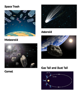 Picture vocabulary: Space Trash, meteoroid, comet, asteroid, gas and dust tail