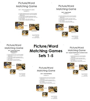 Picture/Word Matching Game Sets 1-5