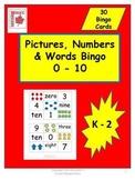 Pictures, Numbers & Words 0 - 10 Math Bingo
