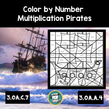 Color by Number Multiplication Pirates
