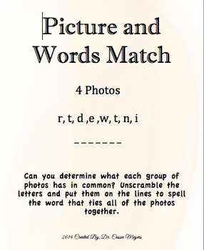 Pictures and Words Match