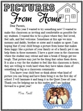 Pictures from Home Parents Letter
