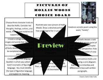 Pictures of Hollis Woods Choice Board Novel Study Activities Menu Book Project