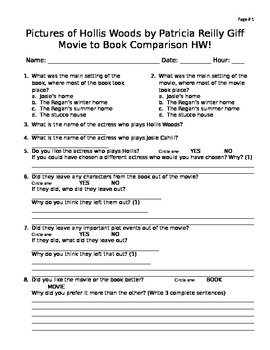 pictures of hollis woods movie vs book worksheet tpt. Black Bedroom Furniture Sets. Home Design Ideas