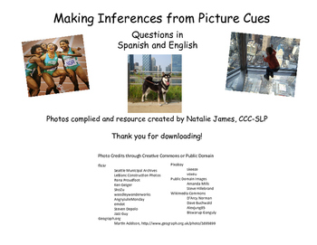 """Pictures with """"Why"""" Inference Questions in Spanish and English"""