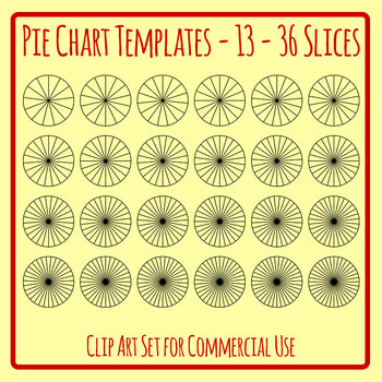 Pie Chart or Fraction Templates for 13-36 Slices Clip Art Set Commercial Use